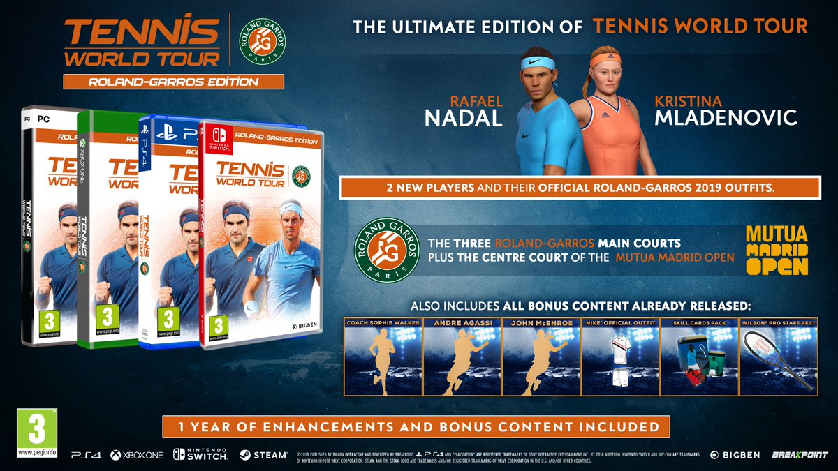 Tennis World Tour 2 Auf Twitter Step Onto The Clay Courts And Dominate The Competition Rafael Nadal And Kristina Mladenovic Join The Roster As The Competition To Become Rank 1 Heats Up