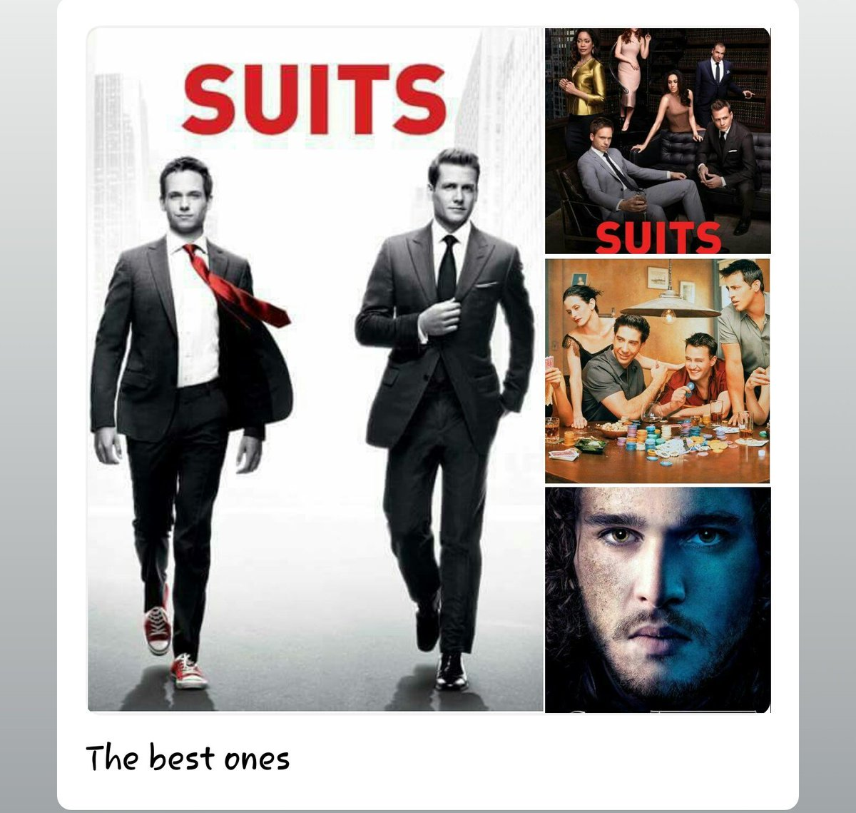 Love these. #Suits for days. #GameOfThrones for nights and  #friends for life.  #PSLVC46 #WednesdayWisdom #NayaPakVSPuranaPak #ISRO #Pakistan #WhatsApp #huawei #china #trump #ronaldo #messi #Chandler #MeghanMarkle #JohnSnow #dollars #CricketWorldCup2019 https://t.co/xy7l3meUhK