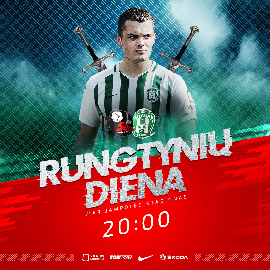 Special day! Lithuanian derby! Two strongest @alygaLT teams will face each other in Marijampole tonight. Kick off 8 pm local time. Live video broadcast will be available on Delfi Sports YouTube channel. https://t.co/GXn7FyysXV