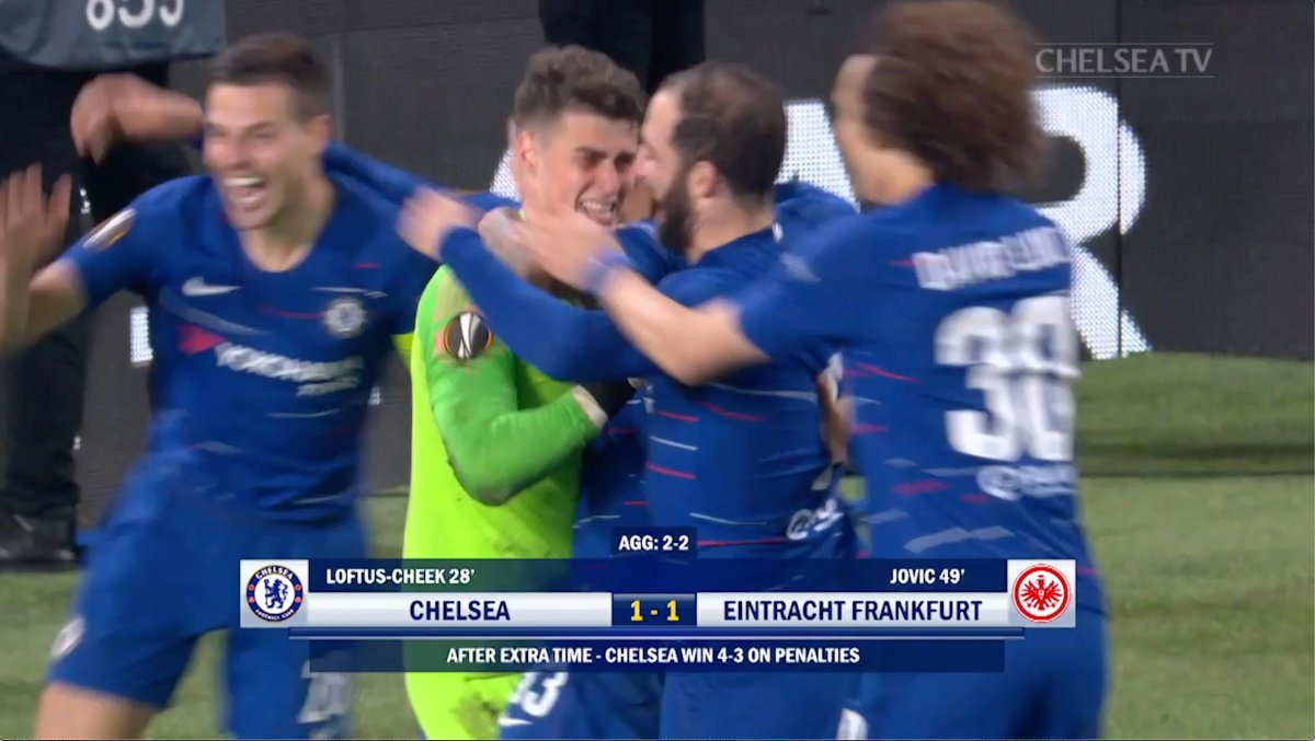 'Chelsea are in the Europa League final!' 🙌  One year ago today, a dramatic penalty shoot-out win against Eintracht Frankfurt...