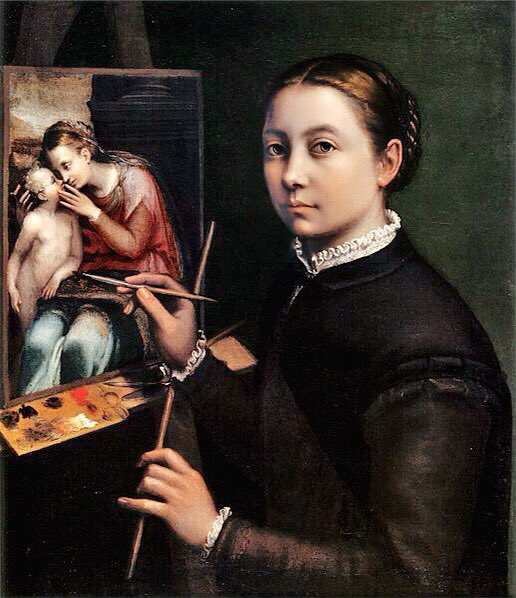 Day1️⃣9️⃣ Зураг1️⃣ Sofonisba Anguissola, Self-portrait, 1556, 66 x 57 cm,  Тэрээр Италийн сэргэн мандлын үеийн зураач, Ромд Микеланжело-д бүтээлээ танилцуулж бжээ. Өвөрмөц, сэтгэл татам олон хөрөг, зургууд бүтээсэн, ялангуяа хүүхдүүдийн дүрслэл нь шинэ, нягт нямбай уран гоё байжээ.