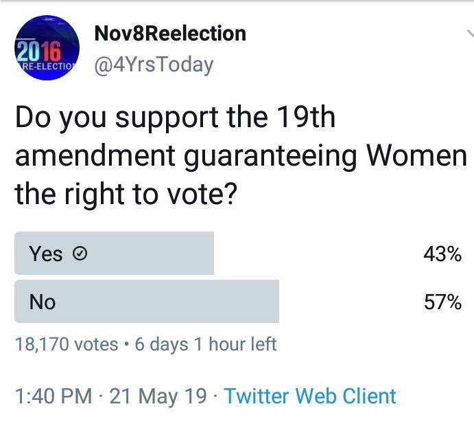 Can&#39;t wait to see the results when they ask if we support the 13th amendment freeing the slaves. #WomensRightsAreHumanRights #WomensVote100<br>http://pic.twitter.com/QACLLVBYVX
