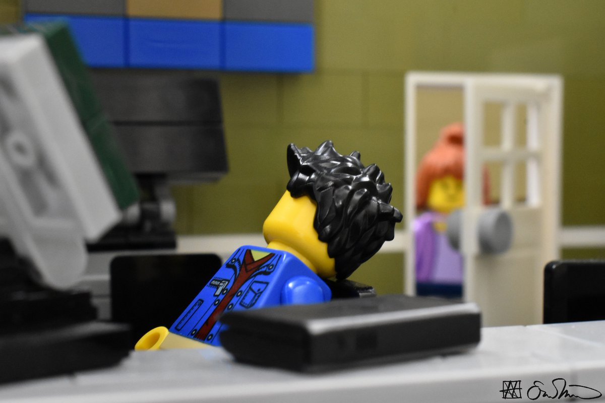 Accepting a calculated risk, the grad student naps during his office hours.