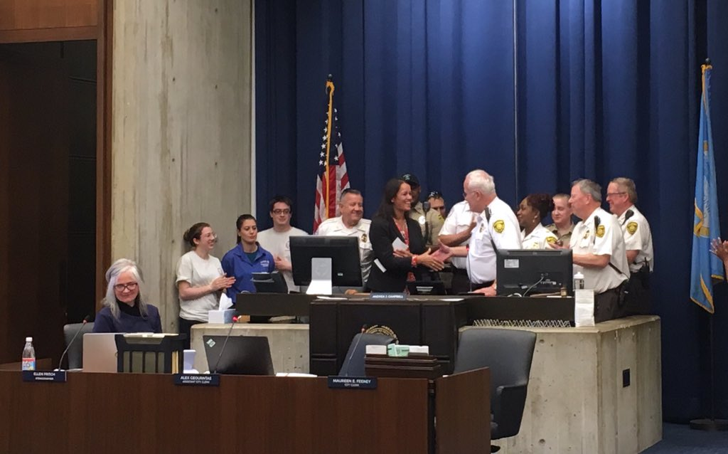Glad to be joined by some of the hardest working people in our City at today's @BOSCityCouncil mtg to present a Resolution for #EMSweek2019 to recognize @BOSTON_EMS!  Thank you for going #BeyondTheCall and for the life-saving services you provide in the City of Boston.  #bospoli