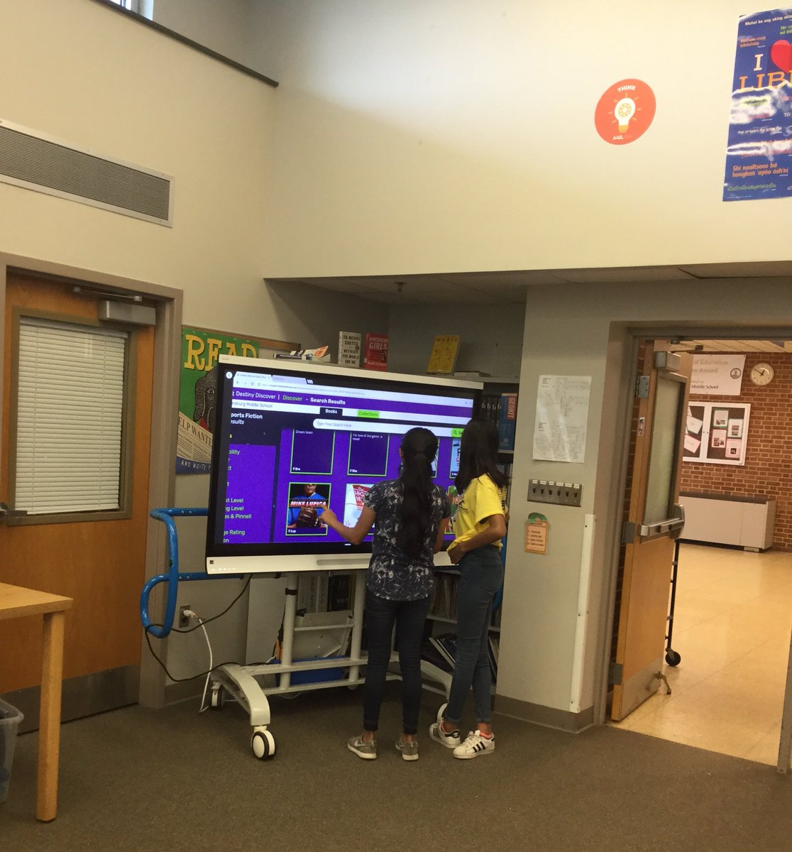"""Overheard - """"Hey, you should take a look at this book!"""" Saw - 2 seventh grade girls browsing the online catalog on the SMARTPanel during lunch. <a target='_blank' href='http://twitter.com/APSLibrarians'>@APSLibrarians</a> <a target='_blank' href='http://twitter.com/BoykinBryan'>@BoykinBryan</a> <a target='_blank' href='http://twitter.com/MsHanReads'>@MsHanReads</a> <a target='_blank' href='http://twitter.com/wmspta2017'>@wmspta2017</a> <a target='_blank' href='http://search.twitter.com/search?q=wmsreads'><a target='_blank' href='https://twitter.com/hashtag/wmsreads?src=hash'>#wmsreads</a></a> <a target='_blank' href='https://t.co/k8lToD0HWG'>https://t.co/k8lToD0HWG</a>"""