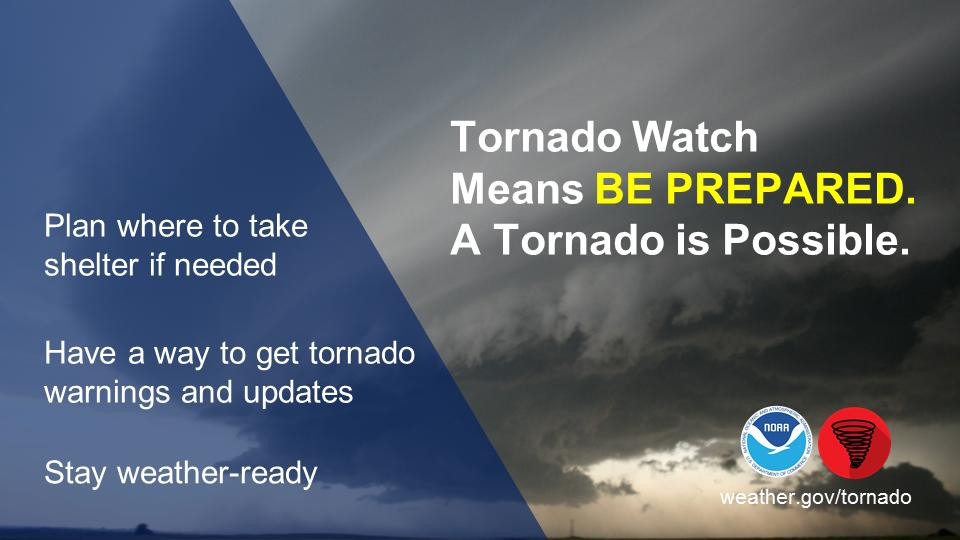 But...there is no need for panic. Review your severe weather safety procedures for the possibility of dangerous weather today. Stay tuned to media sources - both TV and radio, NOAA Weather Radio, and http://weather.gov  for watches and warnings.