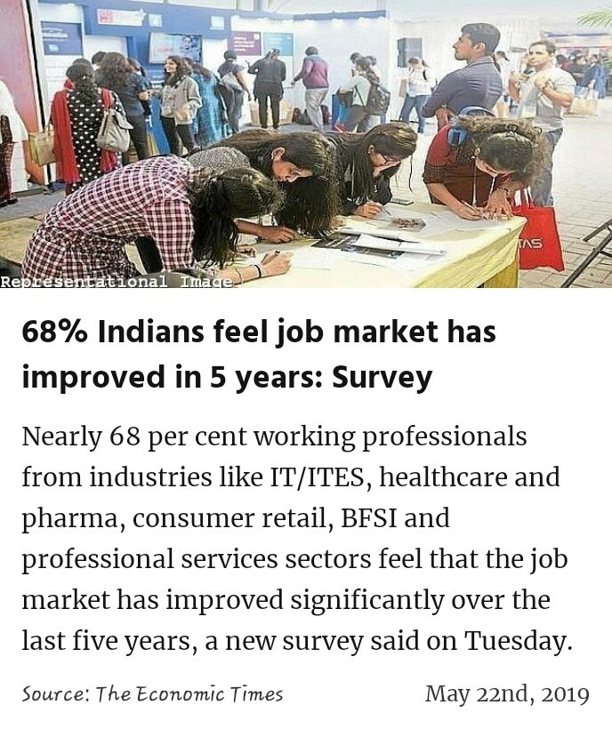 68% Indians feel job market has improved in 5 years: Survey https://economictimes.indiatimes.com/jobs/68-indians-feel-job-market-has-improved-in-5-years/articleshow/69431738.cms?utm_source=facebook.com&utm_medium=Social&utm_campaign=ETFBMain&from=mdr … #IsBaarPhirModi  #MeraVoteModiKo #MainBhiChowkidar #IsBaarNaMoPhirSe @narendramodi  #IndiaSaysNaMoAgain #VoteKar #PhirEKBaarModiSarkaar