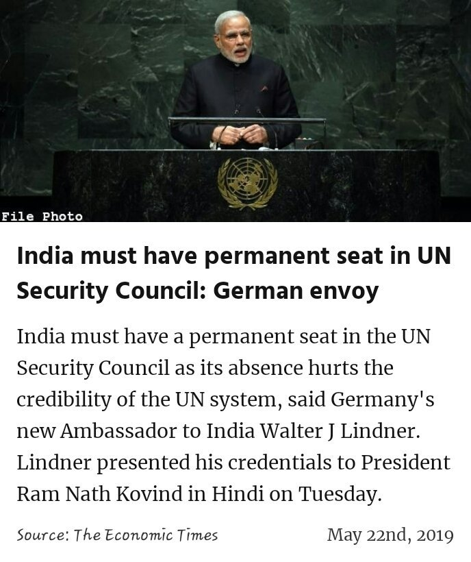 India must have permanent seat in UN Security Council: German envoy https://economictimes.indiatimes.com/news/defence/india-must-have-permanent-seat-in-un-security-council-german-envoy/articleshow/69429299.cms … #IsBaarPhirModi  #MeraVoteModiKo #MainBhiChowkidar #IsBaarNaMoPhirSe @narendramodi  #IndiaSaysNaMoAgain #VoteKar #PhirEKBaarModiSarkaar