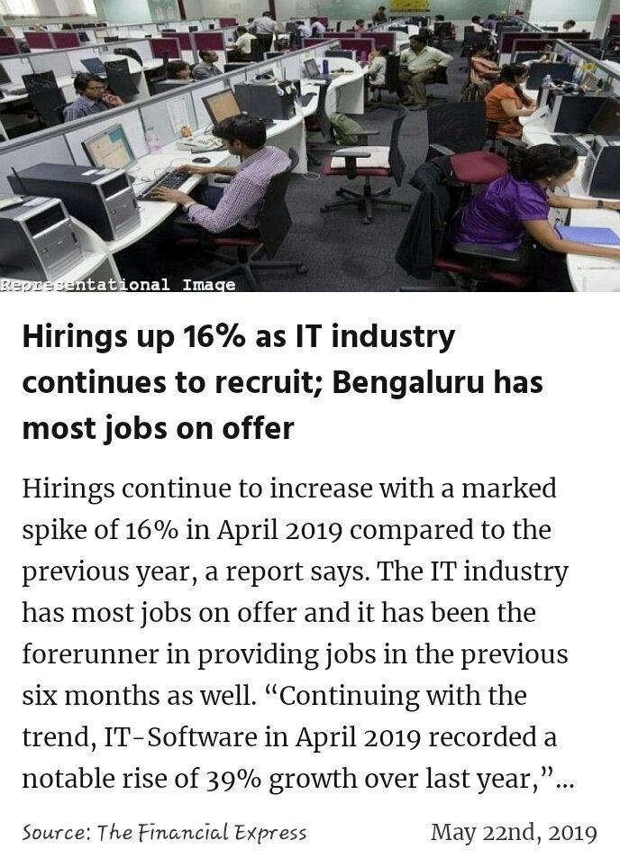 Hirings up 16% as IT industry continues to recruit; Bengaluru has most jobs on offer https://www.financialexpress.com/industry/hirings-up-16-as-it-industry-continues-to-recruit-bengaluru-has-most-jobs-on-offer/1584354/ … #IsBaarPhirModi  #MeraVoteModiKo #MainBhiChowkidar #IsBaarNaMoPhirSe @narendramodi  #IndiaSaysNaMoAgain #VoteKar #PhirEKBaarModiSarkaar