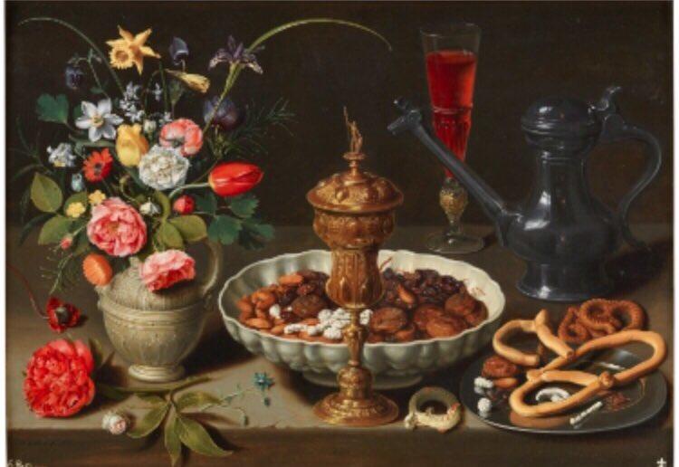Day1️⃣9️⃣ Зураг2️⃣ Clara Peeters, Still-life, 1611, 52x 73 cm  Тэрээр Фламишын Baroque дэгийн зураач бөгөөд түүний бүтээлүүд Голландын Алтан үед хамаарна 4 цуврал зургийн 1 бөгөөд Испанийн хааны цуглуулгад 1666 орсон бдг Тухайн үед эмэгтэй уран бүтээлч үзэсгэлэн гаргахад ч хэцүү бжэ