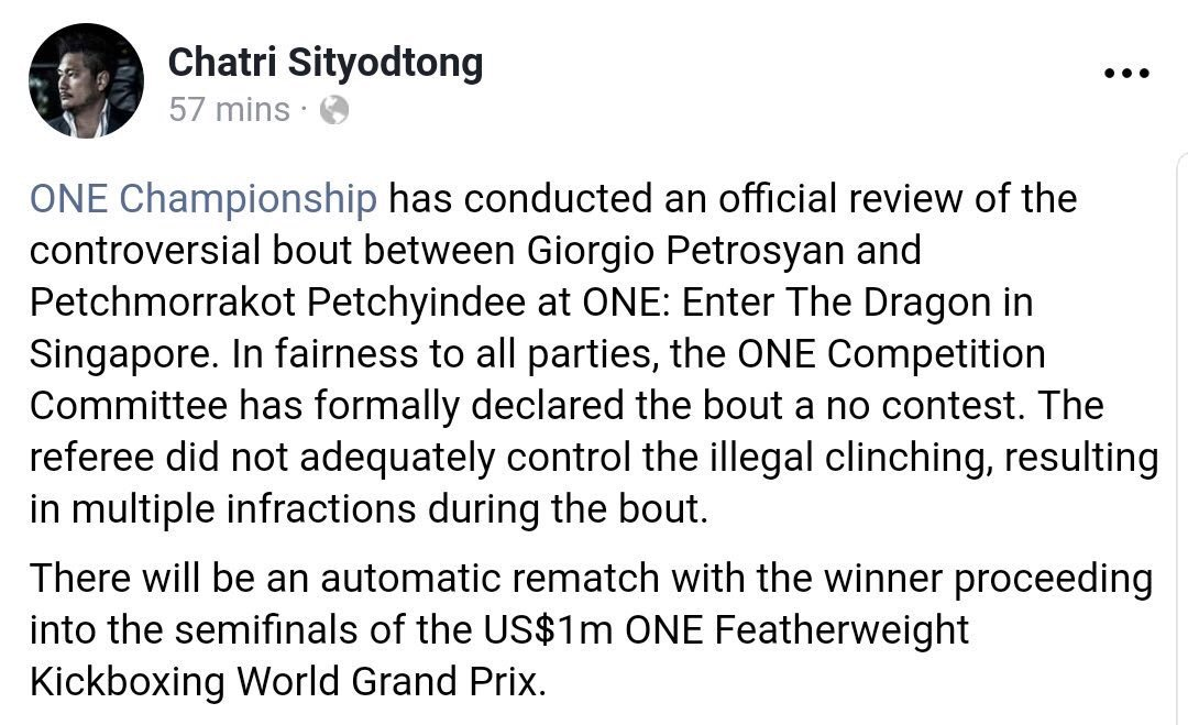 #ONEChampionship officially overturn bout between Petrosyan and Petchmprrakot.  ONE and Chatri continue to look incredibly suspect.