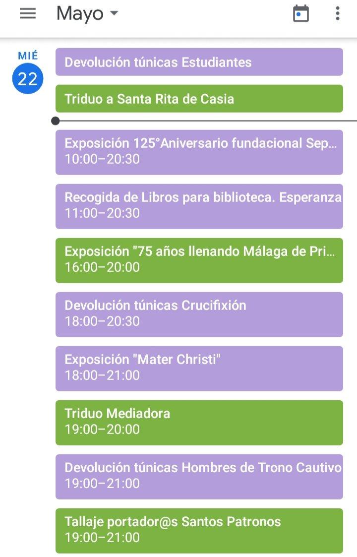 [AGENDA] - La #agendacofrade para hoy, miércoles 22 de Mayo. Disponible en nuestras histories y nuestras redes sociales. #CofradiasMLG #semanasanta #semanasantamalagueña #semanasanta2019 #Malaga @HdadMediadora @cautivotrinidad @PatronosMalaga
