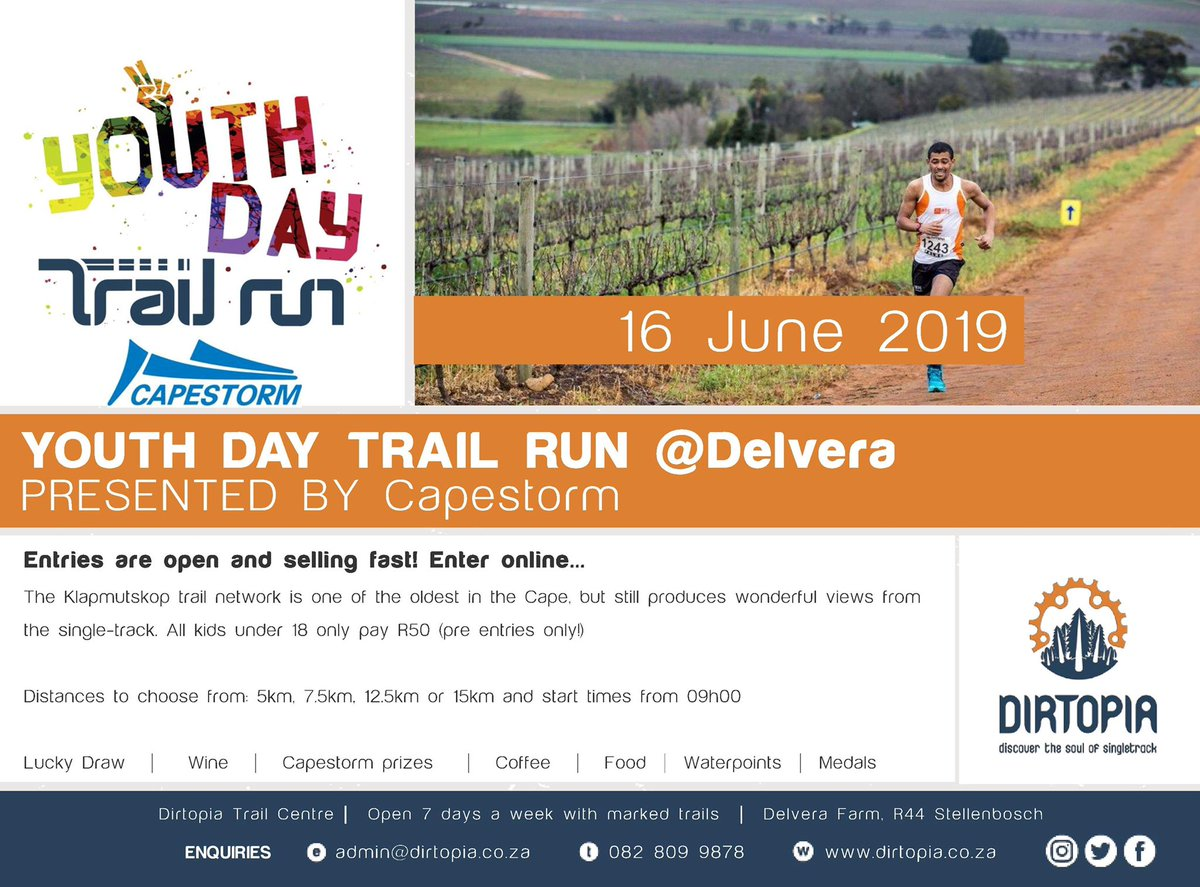 This one is a big one and lots of fun! #youthday #trailrun presented by @capestorm_za on 16 June @Delvera Pre-enter for discount and kids only pay R50! #medals #luckydraw #refreshments Four routes from 5km to 15km. #trailrunning #publicholiday #sundayfunday https://t.co/bJCwK4r4Py