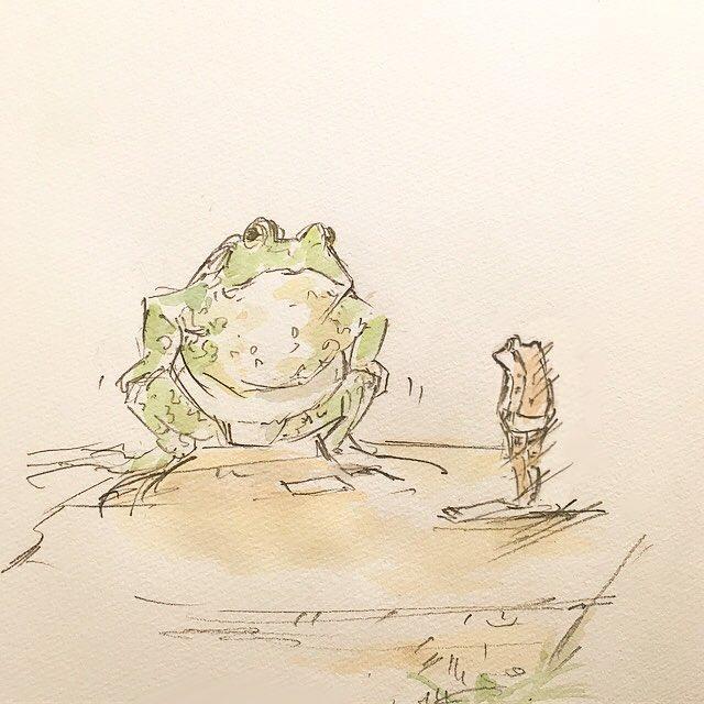 ウシガエルに無謀な相撲を挑まれたアカガエル。