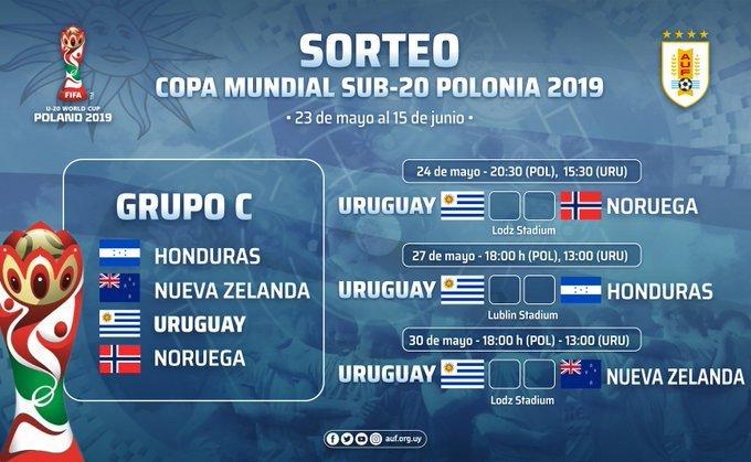 #Sub20 | Calendario de @Uruguay en la Copa del Mundo #Polonia2019. Debutará el próximo viernes 24 de mayo a las 20:30 (POL), 15:30 (URU), ante @nff_info.   #U20WC