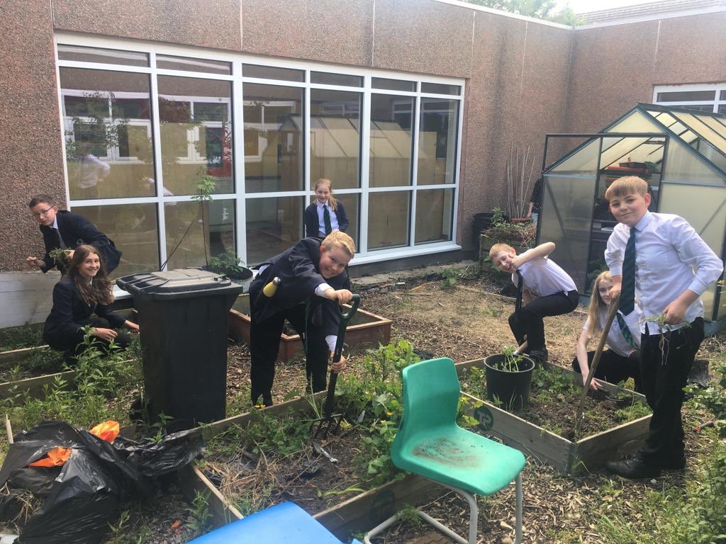Gardening club in full swing this evening. Looking forward to gooseberry crumble!