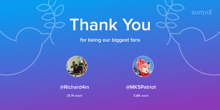 Our biggest fans this week: Richard4m, MK5Patriot. Thank you! via https://sumall.com/thankyou?utm_source=twitter&utm_medium=publishing&utm_campaign=thank_you_tweet&utm_content=text_and_media&utm_term=218719b261af3568a1d7858d…