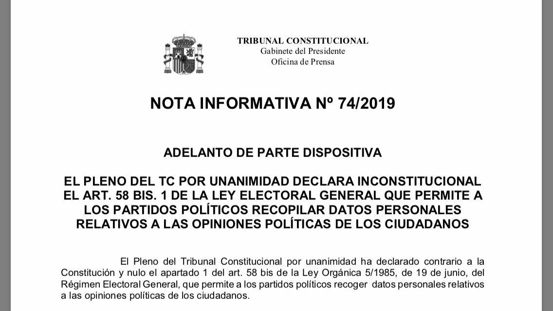 ¡ATENCIÓN! El @TConstitucionE declara inconstitucional por unanimidad el art. 58 bis.1 de la #LOREG: recopilación por los partidos de datos personales vinculados a opiniones políticas de los ciudadanos. ¡MUCHAS FELICIDADES A LOS QUE LO HABÉIS HECHO POSIBLE! ¡Hemos ganado! ¡Todos!