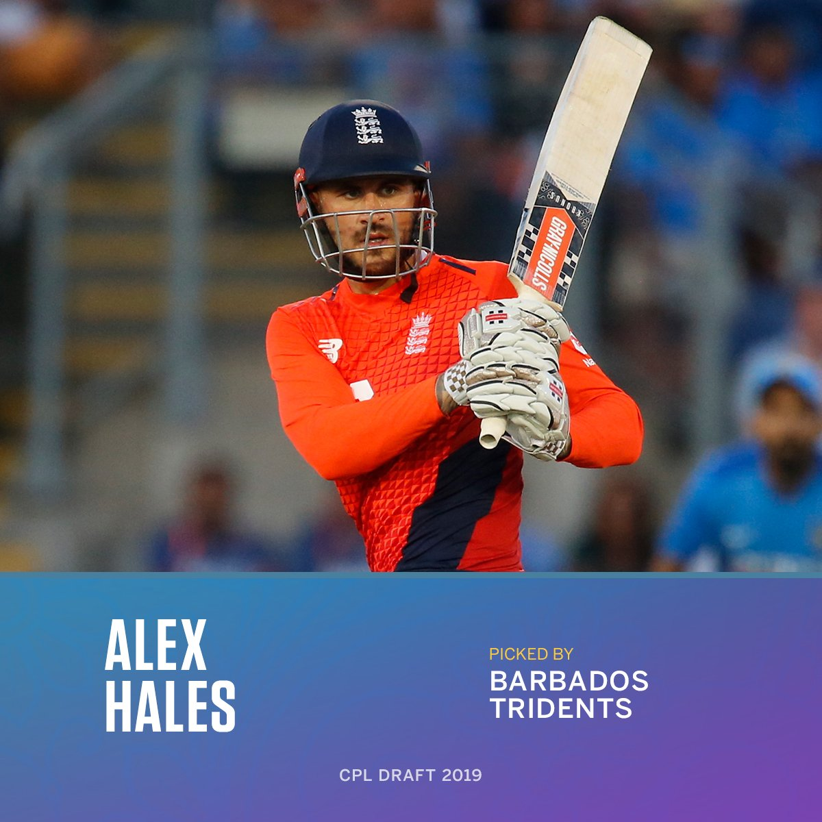 After being left out from England's World Cup squad, Alex Hales is the first pick in the 2019 #CPLDraft - he'll make his Caribbean Premier League debut this year for the Barbados Tridents.