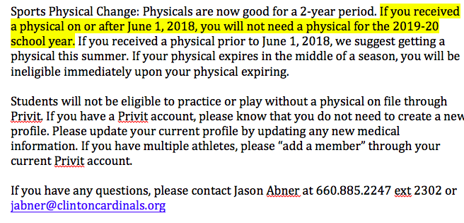MSHSAA Physical Information Change: Please see the attachment and let us know if you have any questions. @KDKDRadio @ClintonMoCards