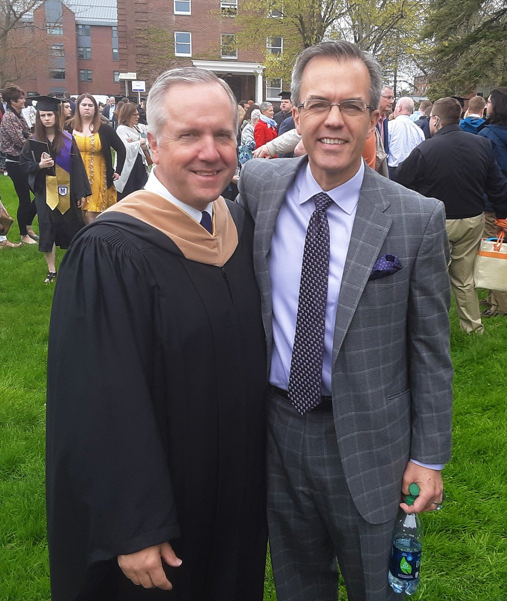 Just a couple of former @smcathletics Sports Information work-study students catching up at @saintmichaels Commencement - congratulations to Jack '19 and the Caron family! #JacksBigDay #Legacy #KnightsR4Ever #smcvtalumni