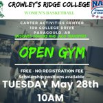 Image for the Tweet beginning: OPEN GYM TUESDAY MAY 28th