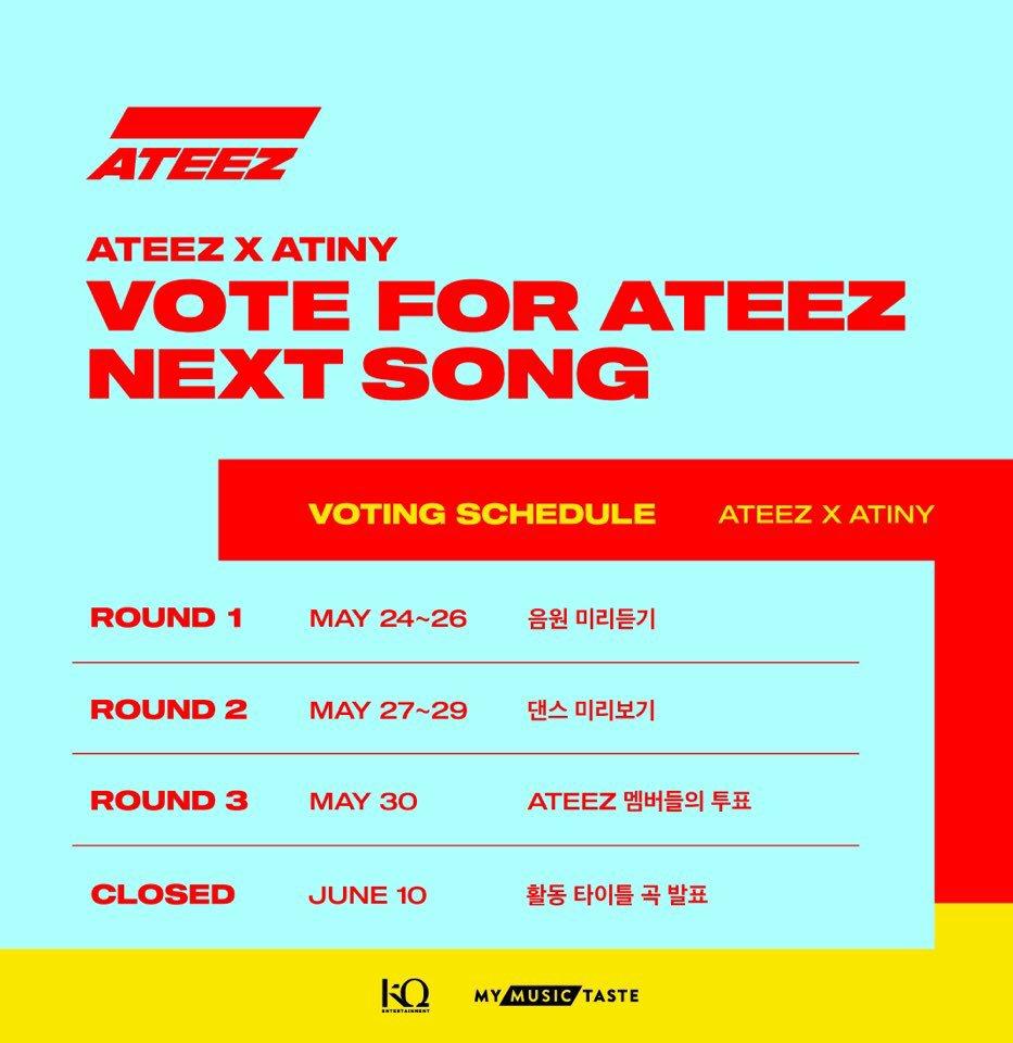 [📢] ATEEZ x ATINY: Vota por la siguiente canción de ATEEZ  5/24 11AM(GMT): SONG PREVIEW 5/27 11AM(GMT): PERFORMANCE VIDEO PREVIEW 5/30 11AM(GMT): VOTO DE ATEEZ 6/10 11AM(GMT): ANUNCIAMIENTO DE LA CANCIÓN   Fancafe🧷http://cafe.daum.net/ATEEZ/n62e/18 Site🧷https://ateez.vote  #ATEEZ