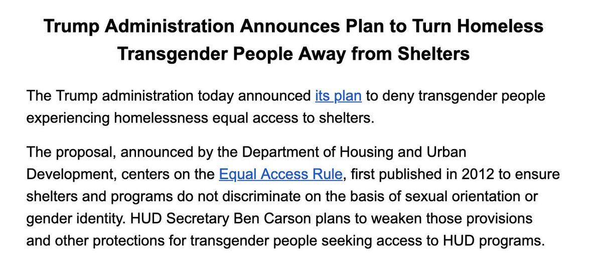 """Trump in 2016: I """"will do everything"""" to protect LGBT communities from violence.  Just now in my inbox: BREAKING: Trump Announces Plan to Turn Homeless Transgender People Away from Shelters"""