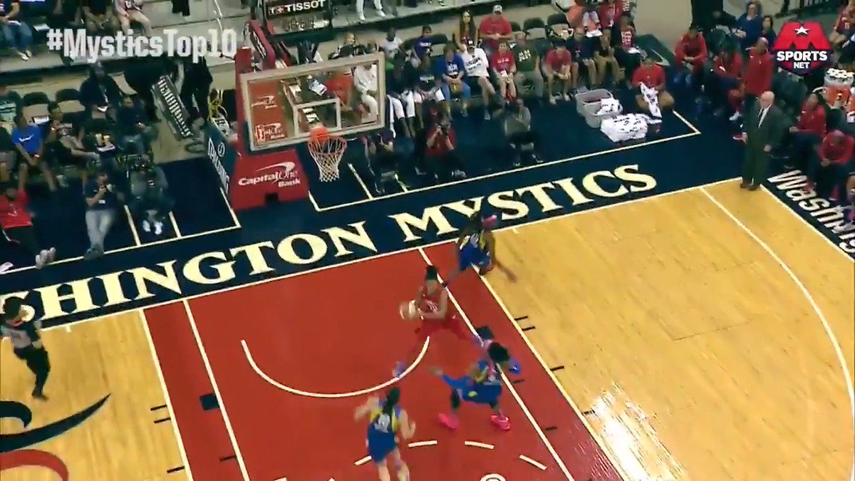 #MysticsTop10 #️⃣4️⃣: @KristiToliver hits the spin cycle 🌀 to find @De11eDonne for a fastbreak bucket.