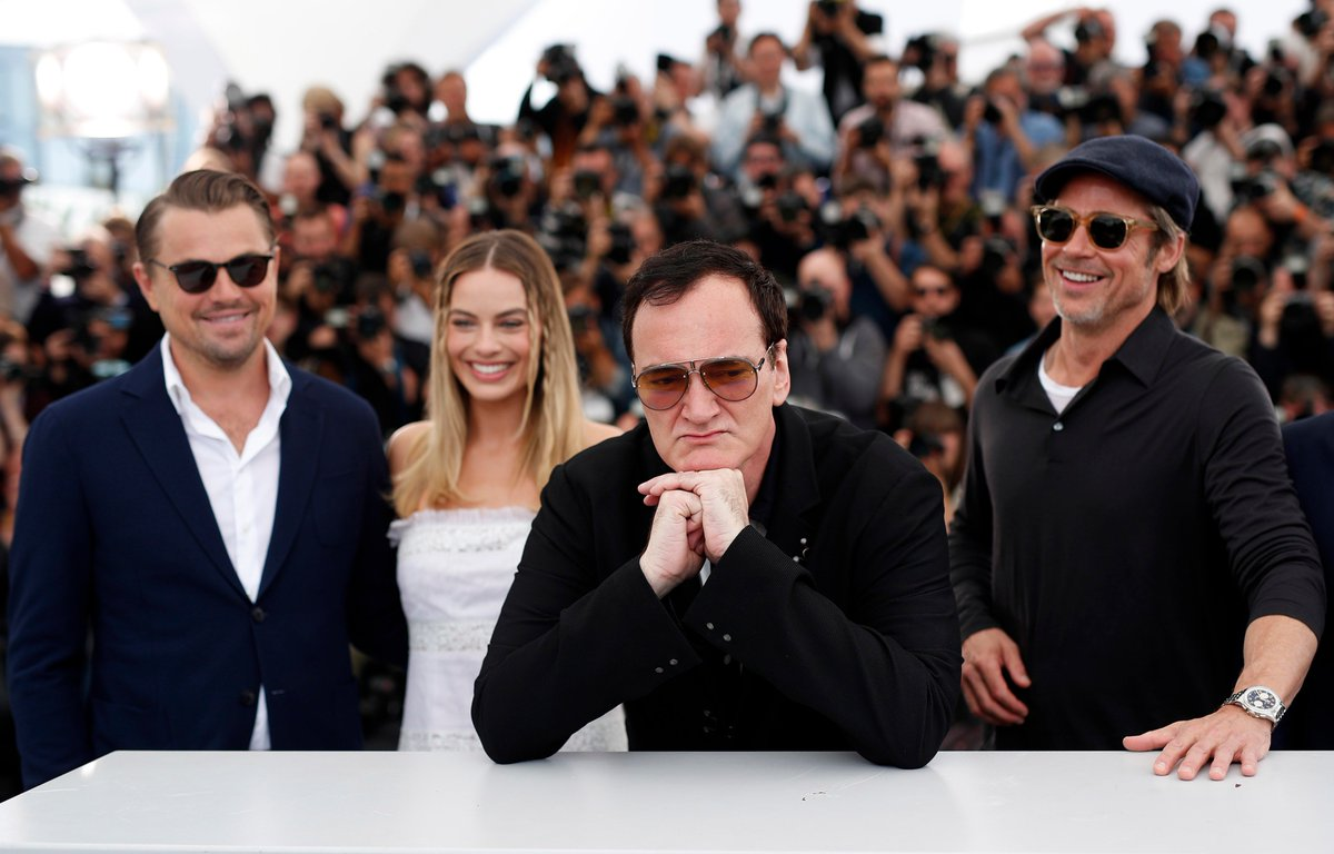 """A female journalist asked Tarantino why he gave a talented actress like Margot Robbie—who plays Sharon Tate in the late-'60s Hollywood period piece—such little dialogue.  """"I just reject your hypothesis,"""" Tarantino said bluntly, a scowl on his face. https://lat.ms/2WnOBiC #Cannes"""