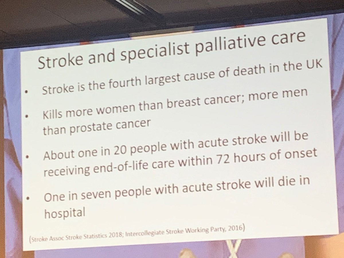 There's a need for palliative care in stroke - it kills more women than breast cancer &amp; more men than prostate cancer. #ESOC2019<br>http://pic.twitter.com/yv0U29aBeX