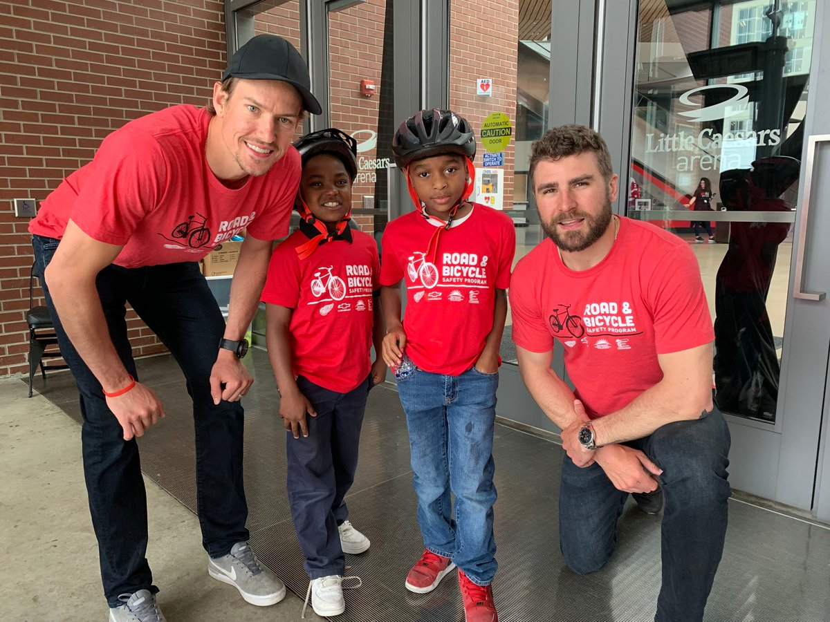 For second straight year, #RedWings partner with @Chevrolet to surprise more than 500 second grade students from seven Detroit schools with bikes and equipment.  Details: https://redwn.gs/2HuMOjM
