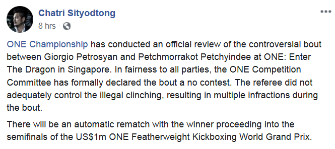Disagreed w/ judges that day (thought GP won R1/R2) but it was close. Petchmorrakot utilized a limited clinch, as expected from MT fighters in KB, & seemed to fight within the rules. Ref separated & issued warnings when necessary. Now Petchmorrakot withdraws. Shifty look for ONE.