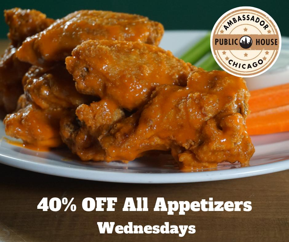 WEDNESDAYS  40% Off ALL Appetizers, Wings, Chicken Tenders, Calamari, Nachos, Kabobs, Tacos, Sliders & More!   $5 Abbot Ale  $5 pints Great Lakes IPA May Beer of the Month #Cubs vs #Reds @ 5:40 pm   #WestLoop #WestLoopSportsBar #ChicagoSportsBar https://t.co/CZeyeQIMwd