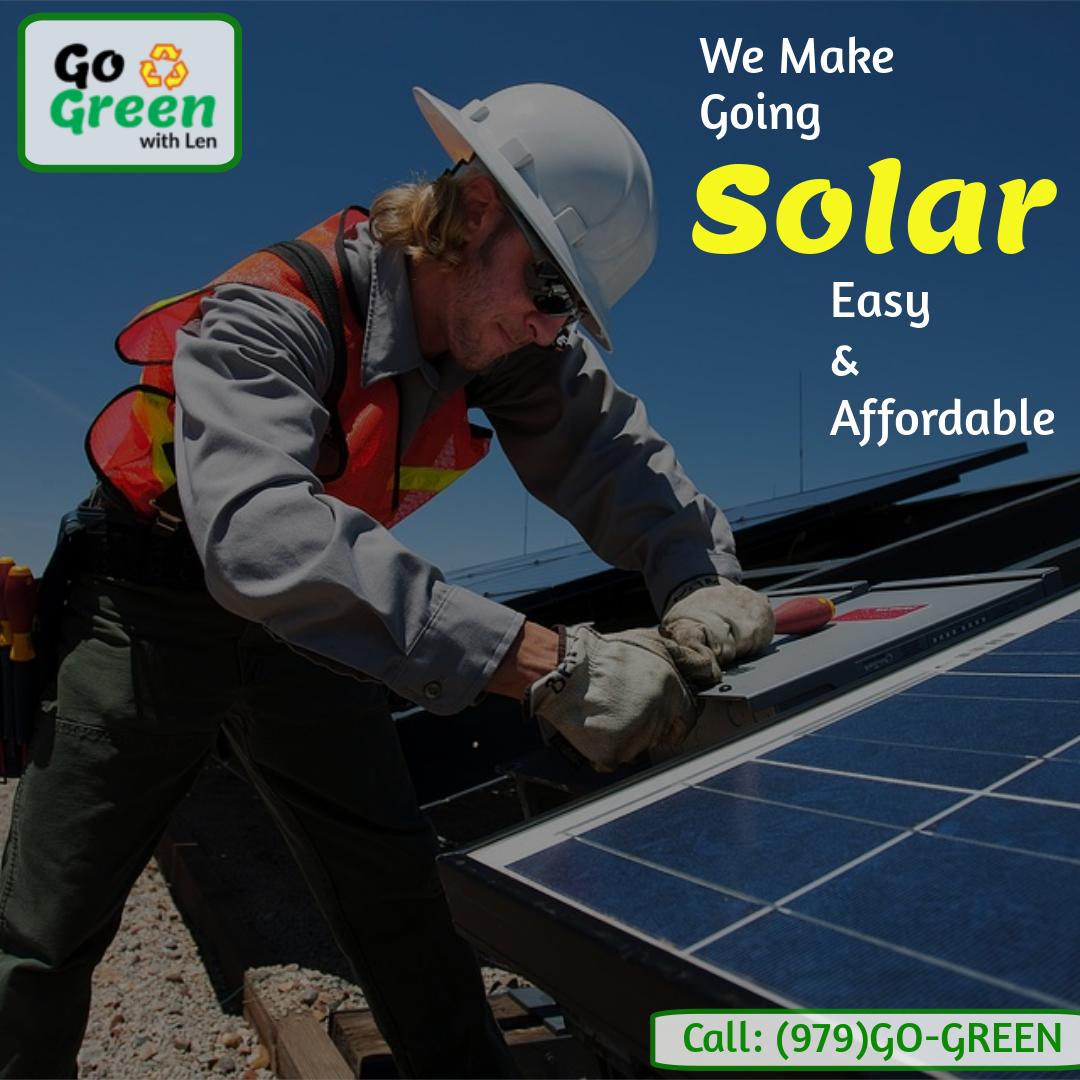 We take care of your transition from traditional energy to #SolarEnergy at the most affordable prices & effective consulting. Call us: (979)GO-GREEN  #dfw #texas #tx #usa #solarexperts #solarGNP #solarpanels #solarrepair #greenenergy #cleanenergy #gogreenwithlen #TexasSmartCitiespic.twitter.com/zf21GdrNNh