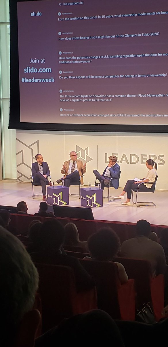 Great debate on the #sportsbiz pricing of #boxing. &quot;I need you both to succeed im not tied to anyone, &amp; in some ways I&#39;m kinda f&#39;ed in that way.&quot; The always entertaining @loudibella sitting between @DAZN_USA &amp; @SHOsports #LeadersWeek <br>http://pic.twitter.com/Y9imHSRlRB