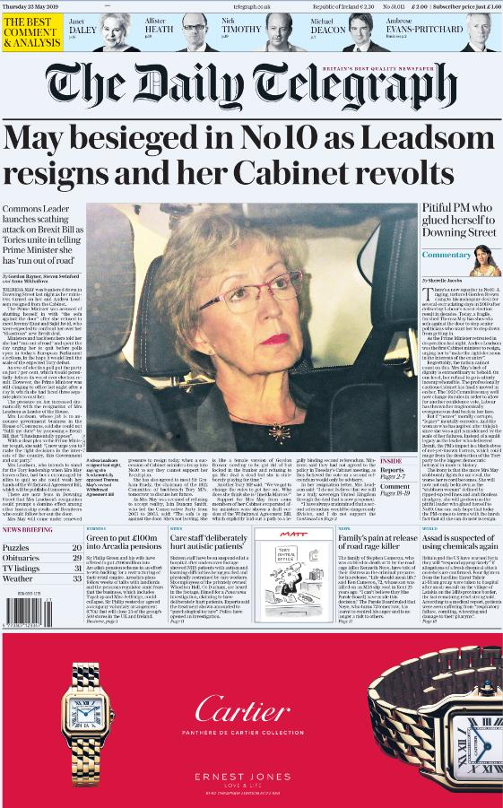 The front page of tomorrow's Daily Telegraph: 'May besieged in No 10 as Leadsom resigns and her Cabinet revolts' #tomorrowspaperstodayhttps://www.telegraph.co.uk/politics/2019/05/22/theresa-may-siege-ministers-turn-andrea-leadsom-quits-cabinet/…