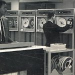 Magnetic tape reels are mounted on a computer in of the GSA's automatic data processing centers, circa 1967. GSA is still a leader in federal technology, learn more for #GSAat70: https://t.co/UZRVwJt2eU