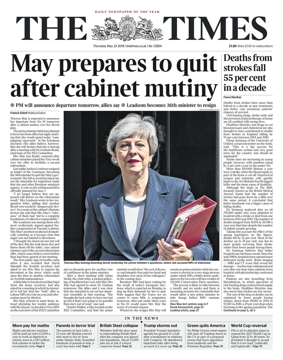 """Thursday's Times: """"May prepares to quit after cabinet mutiny"""" (via @hendopolis) #tomorrowspaperstoday"""