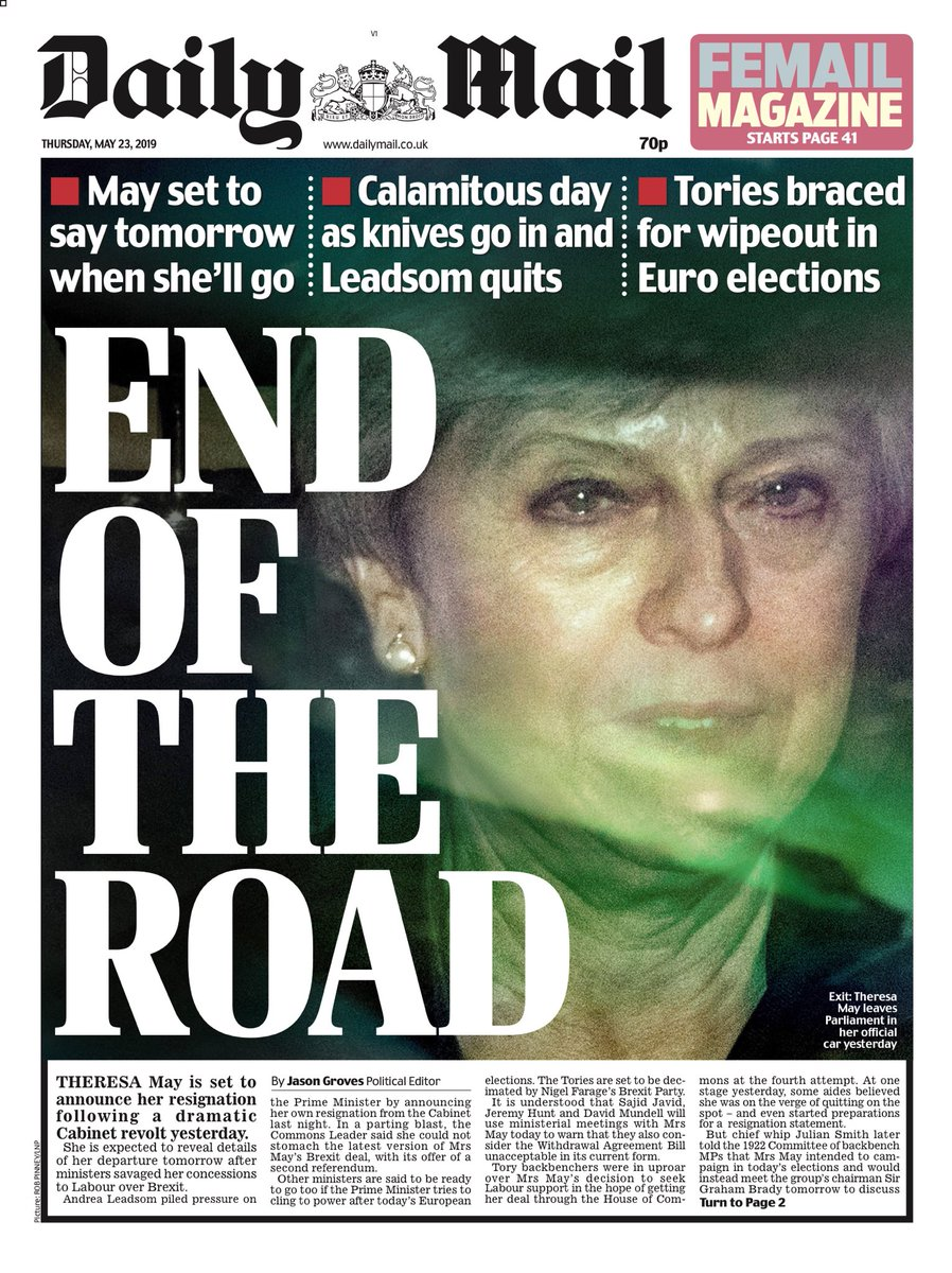 MAIL: End of the road #tomorrowspaperstoday