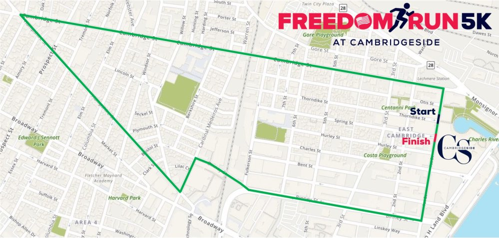 Freedom Run 5K - a patriotic 5k from CambridgeSide to Inman Square and back - is Sunday, June 9th!   Register for the Cambridge Half (Nov 3rd) and the 5K to get 10% off both races.   http://www.CambridgeSide.com/raceseries