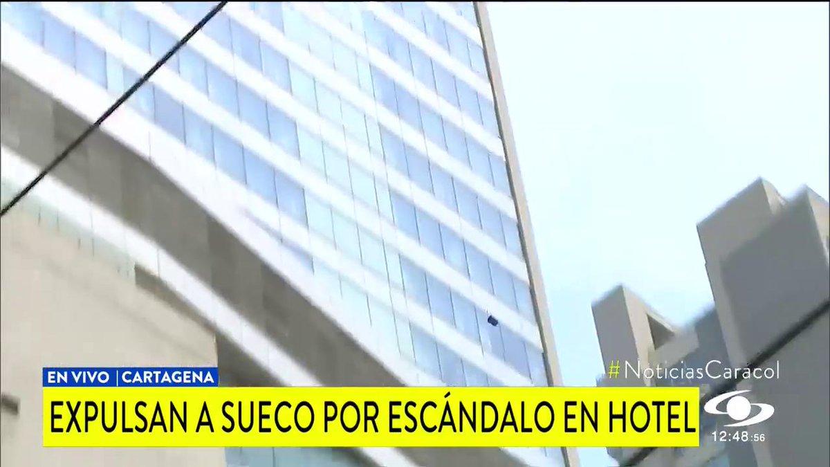 Ciudadano sueco que lanzó sillas y otros elementos desde cuarto de hotel en Cartagena fue expulsado del país http://noticiascaracol.com