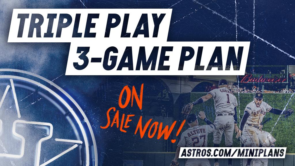 The 2017 World Series Champs will host the 2018 Champs this weekend and the 2016 Champs next week.  Snag tickets for those games and more with the Triple Play Plan: http://Astros.com/MiniPlans