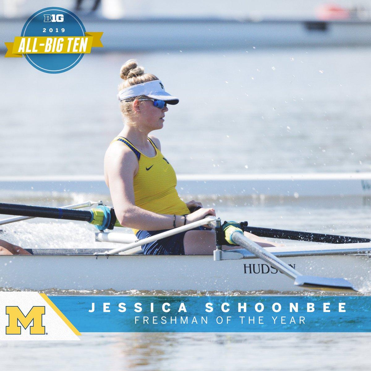 Jessica Schoonbee of @umichrowing named 2019 Big Ten Rowing Freshman of the Year. #B1GRow