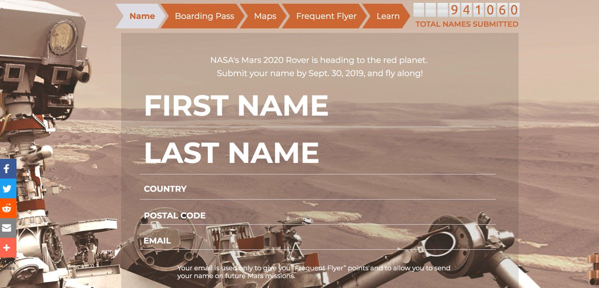 Too cool! Send your name to Mars with NASA's next Mars rover. mars.nasa.gov/participate/se…