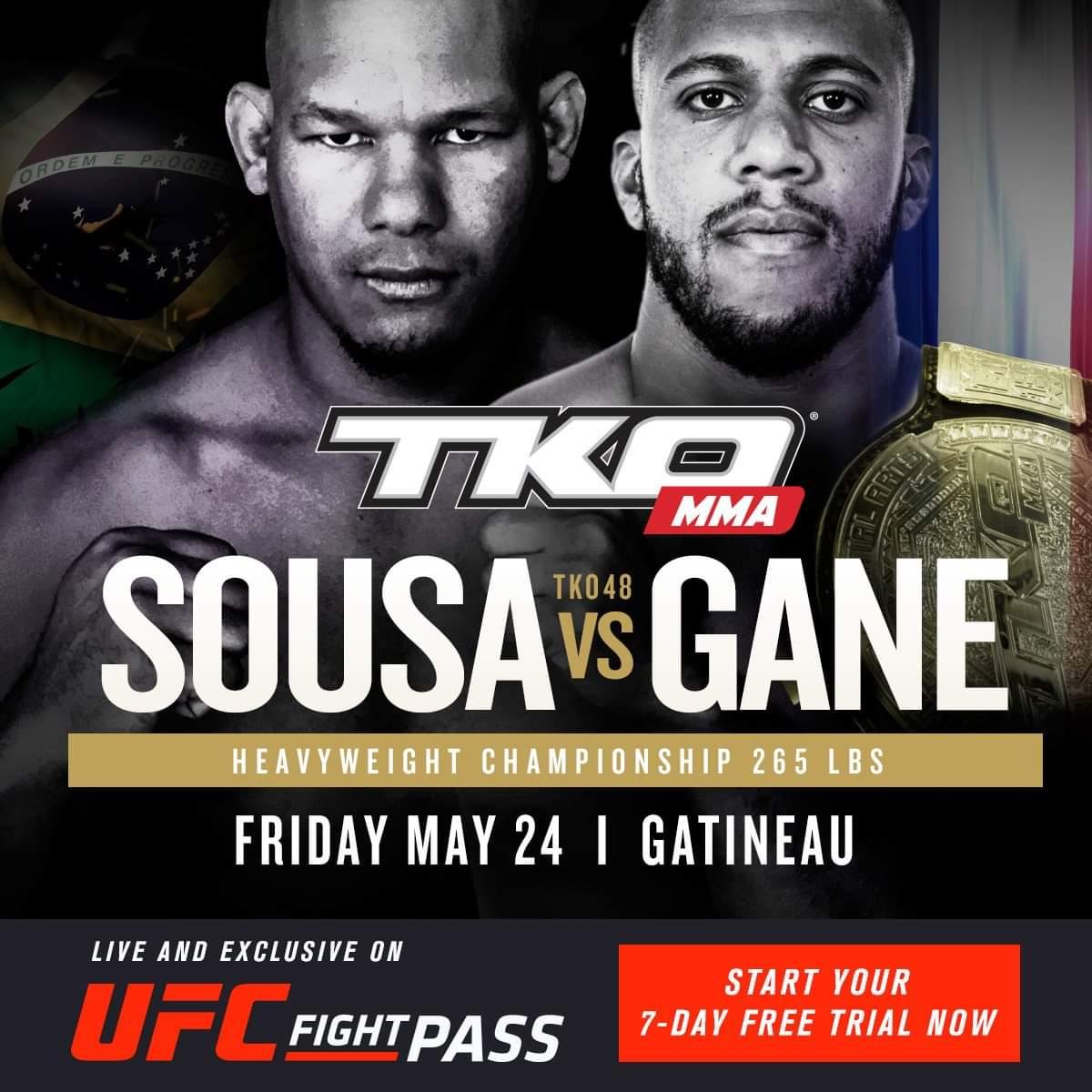 #TKO48  -Carte préliminaire Facebook dès 17h45 (23h45 en France) -Carte préliminaire  dès 18h (24H en France) sur FIGHT NETWORK et UFC FIGHT PASS  - Carte principale des 19h30 (1h30am en France) sur FIGHTNETWORK ET UFC FIGHT PASS et à la radio 91.9 SPORTS