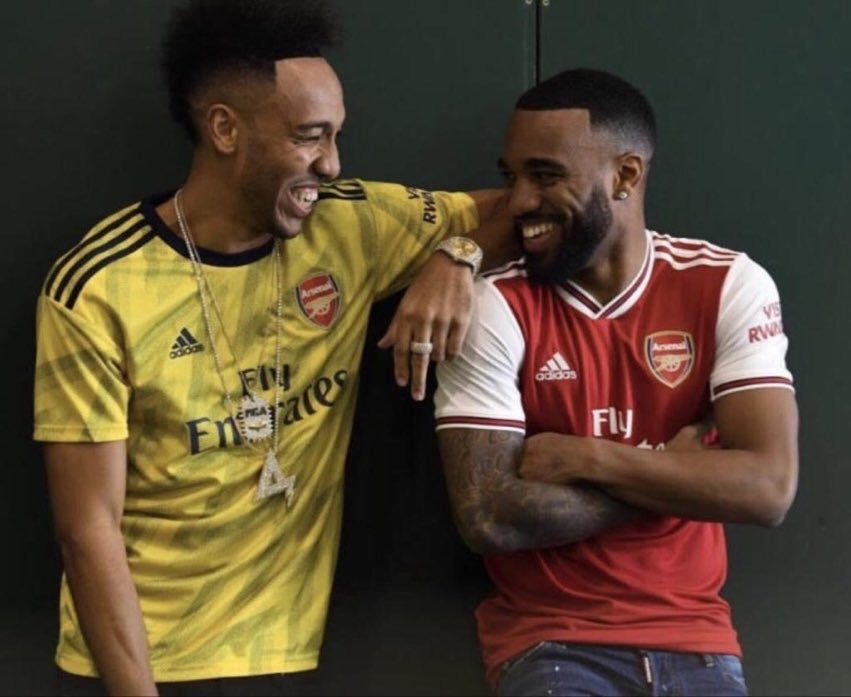 Leaked photo of Arsenal's away kit, worn by Pierre-Emerick Aubameyang &amp; Arsenal's home kit, worn by Alexandre Lacazette, for the upcoming season, manufactured by Adidas.  #afc<br>http://pic.twitter.com/O7uUJzdUfQ