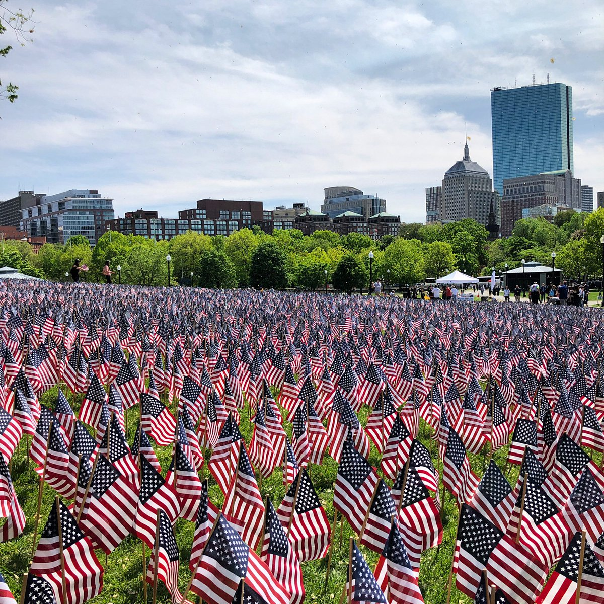 37,000 American Flags are now planted in the Boston Common in memory of every fallen Massachusetts service member from the Revolutionary War to the present. http://massmilitaryheroes.org – at Boston Common