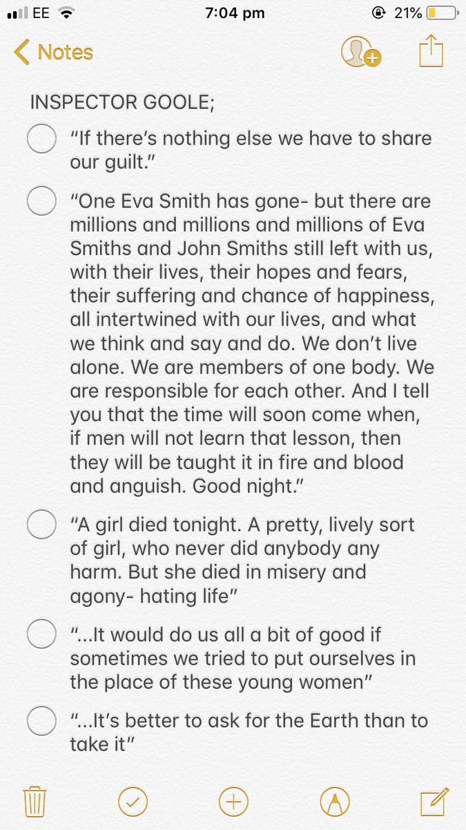 here's some an inspector calls quotes for tomorrow. good luck everyone 💕 RT to help some people out (continued in replies) #AQAEnglishLit #GCSEs2019