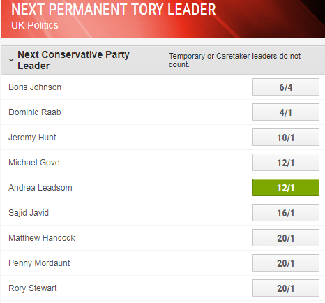 Andrea Leadsom is 12/1 to be next Tory leader.